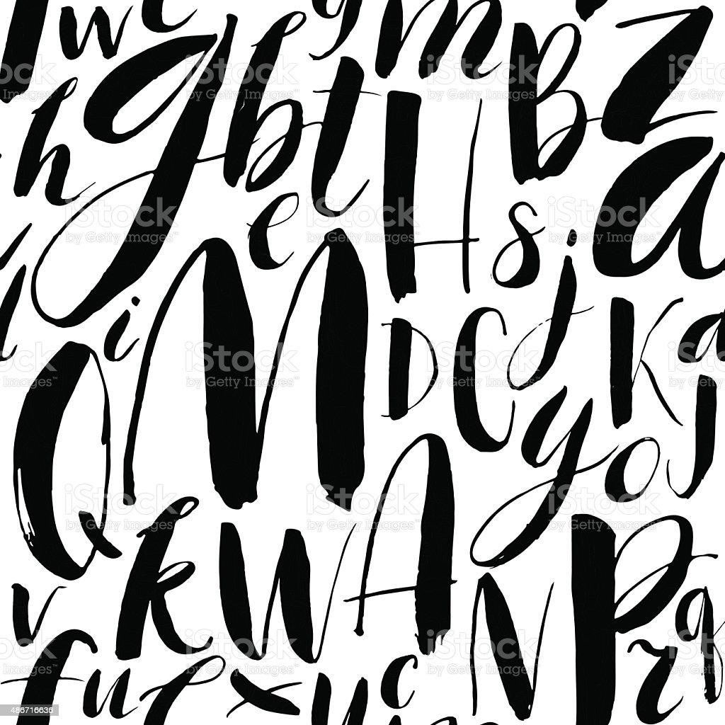 Handwritten calligraphic font seamless background. vector art illustration