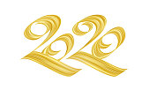 Vector illustration: Handwritten calligraphic golden paint lettering of 2020. Happy New Year