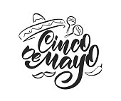 Vector illustration: Handwritten calligraphic type lettering of Cinco De Mayo with hand drawn sombrero, maracas and pepper