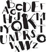 Handwritten calligraphy and lettering grungy font alphabet