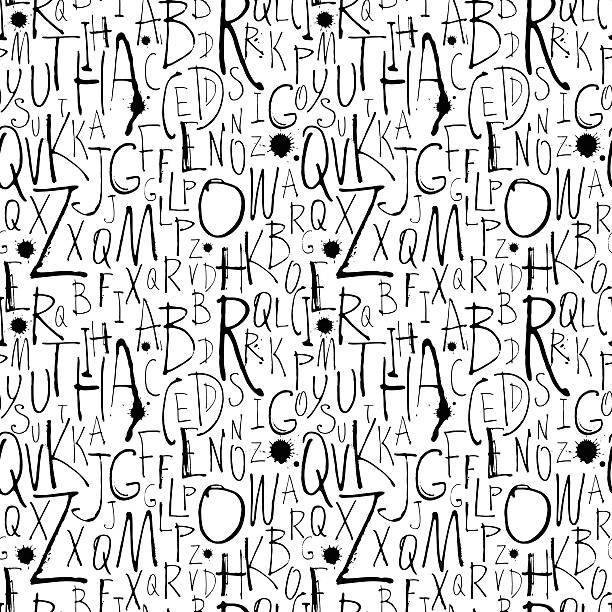 Handwritten calligraphy and lettering seamless pattern. Vector illustration Handwritten calligraphy and lettering seamless pattern. Black and white alphabet backgrounds stock illustrations