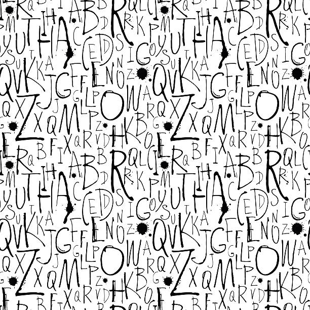 handwritten calligraphy and lettering seamless pattern. - alphabet backgrounds stock illustrations