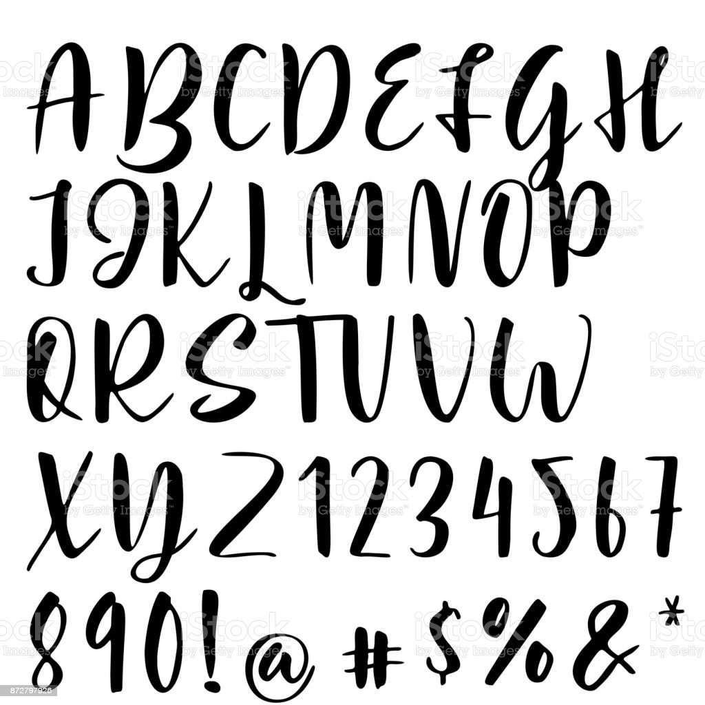 Handwritten Calligraphy Font Vector Alphabet Hand Drawn Letters Royalty Free