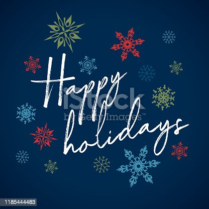 istock Handwritten Card Happy Holiday Christmas 1185444483