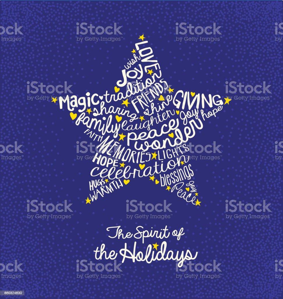 Handwritten Christmas Words In Star Shape Word Cloud Design For