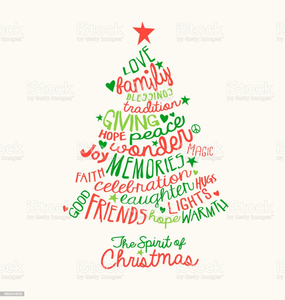 Handwritten Christmas Words In Tree Shape Word Cloud Design For