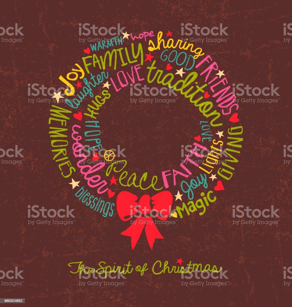 Handgeschriebene Weihnachts Wörter In Kranzform Wortwolke Design Für ...