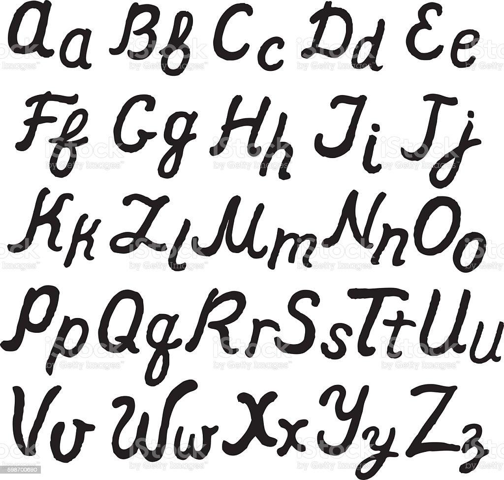 Handwritten Cursive English Alphabet Stock Illustration ...