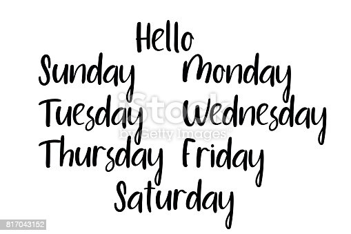 Handwritten Days Of The Week Monday Tuesday Wednesday ...