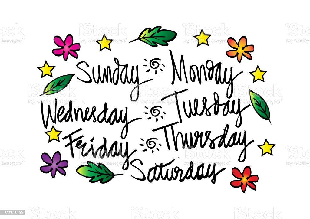 月曜日火曜日水曜日木曜日金曜日土曜日日曜日の曜日を手書き