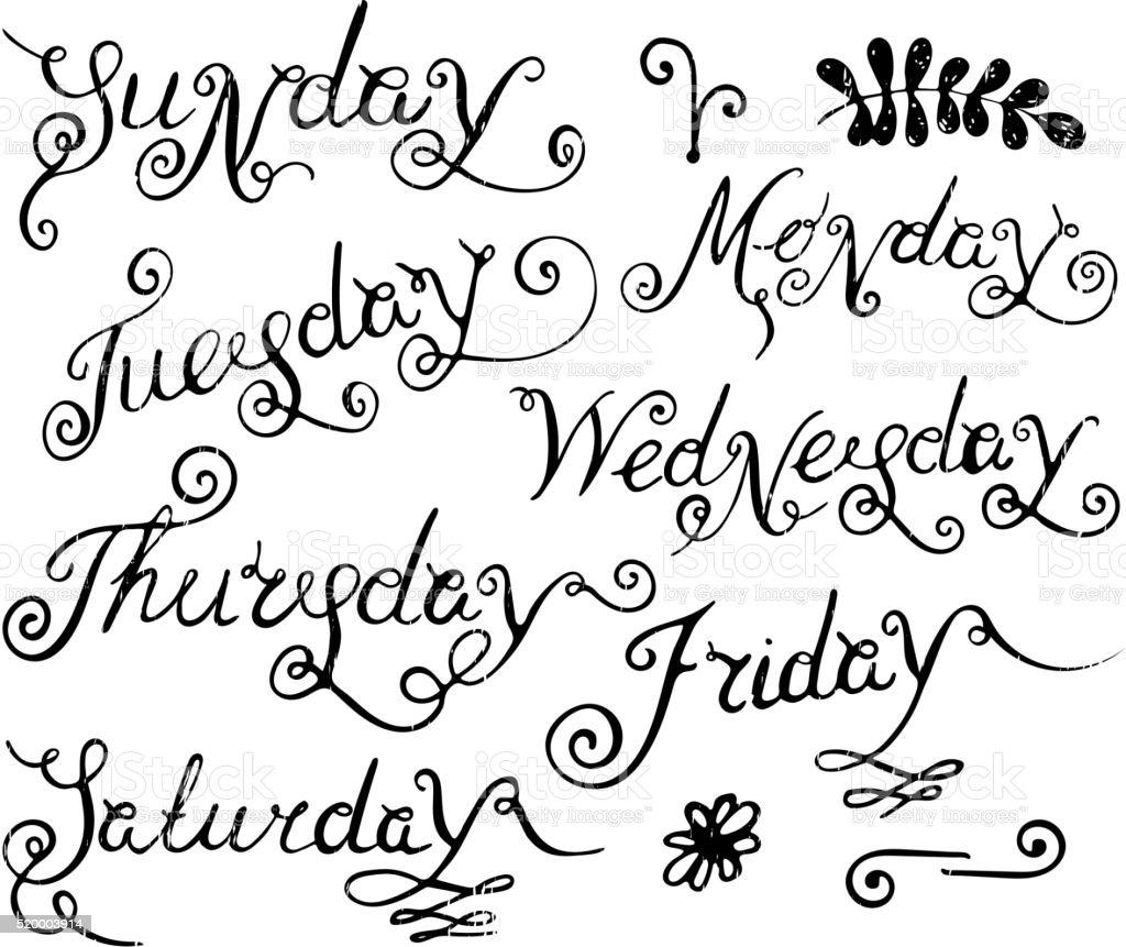 Handwritten days of the week. vector art illustration