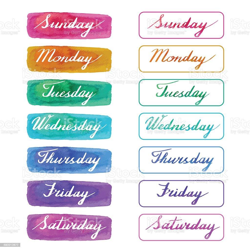 Handwritten days of the week vector art illustration