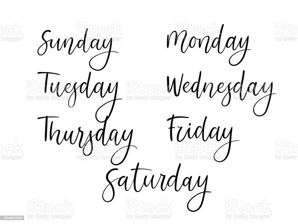 Handwritten days of week modern calligraphy calendar
