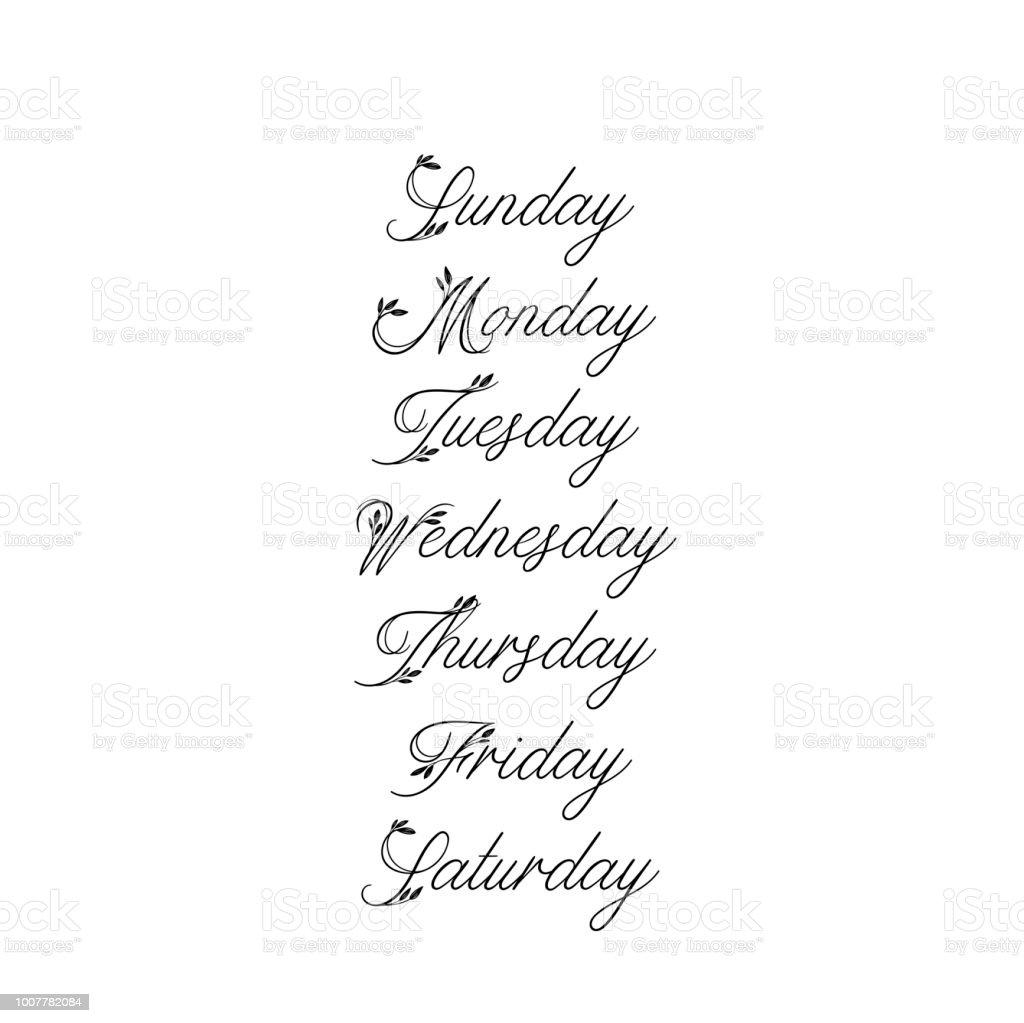 手書き曜日日曜日月曜日火曜日水曜日木曜日金曜日土曜日現代書道