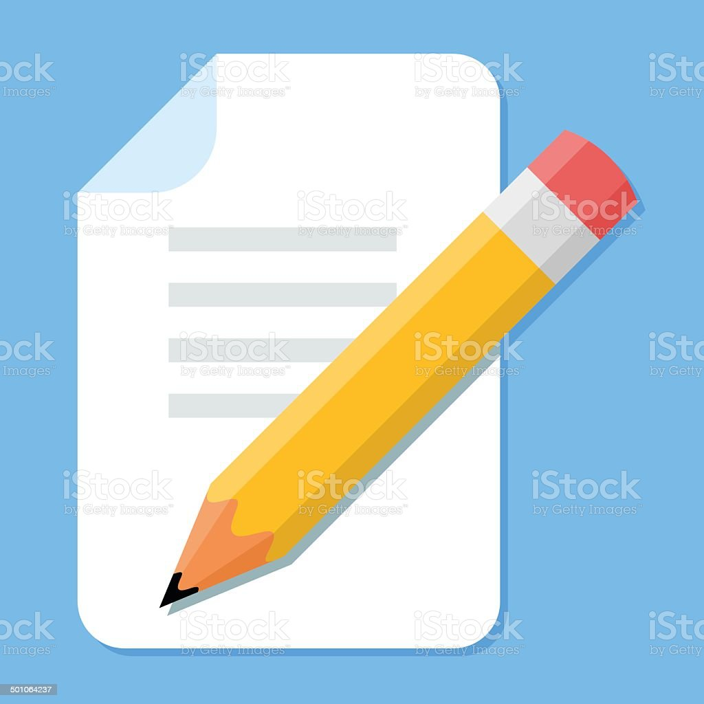 Handwritten Document. Flat Design vector icon vector art illustration