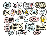 istock Handwritten doodles phrases set. Motivational slogans and hand drawn design elements. 1296440234