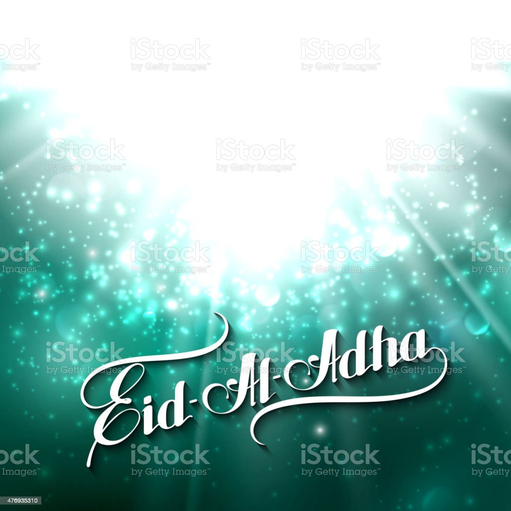 handwritten Eid-Al-Adha retro label on shiny background vector art illustration