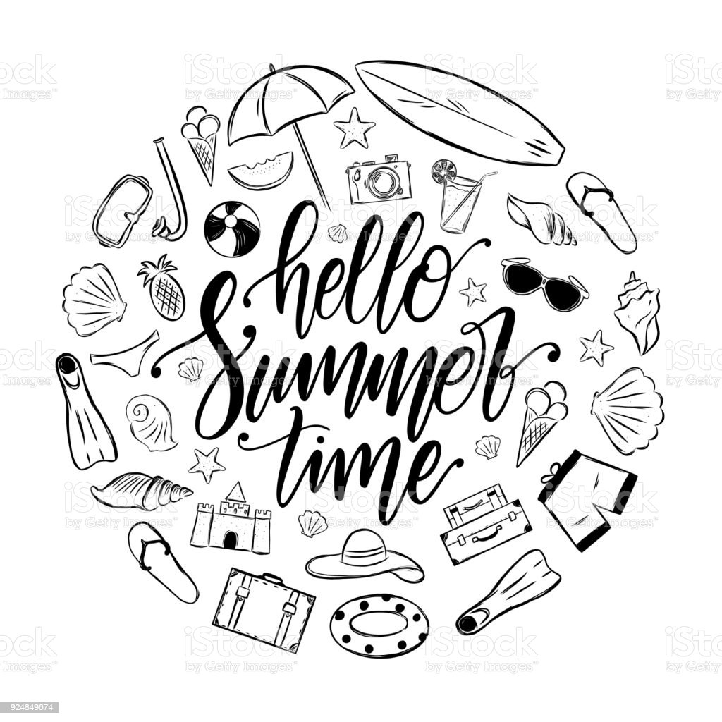 4f28c81896770 Handwritten elegant brush lettering of Hello Summer Time with set of  vacation elements. Tropical Journey decoration. - Illustration .