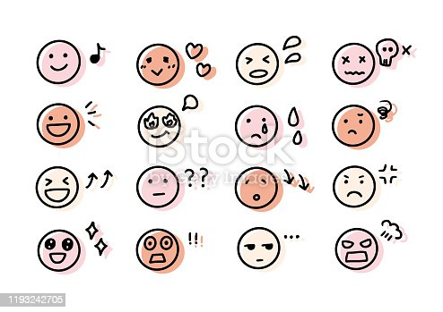 Handwritten facial expression and emotion icons.
