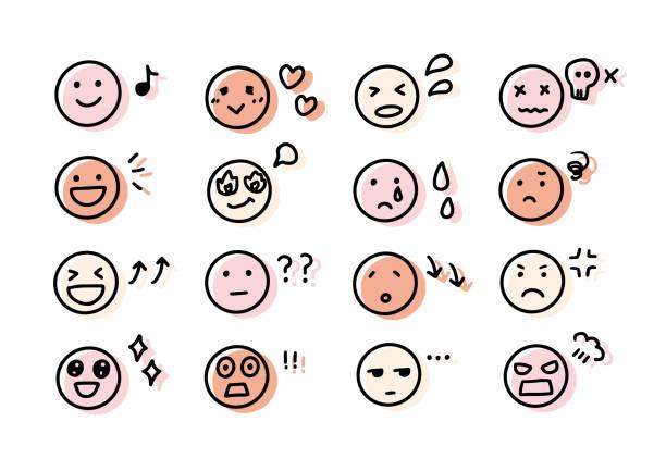 illustrazioni stock, clip art, cartoni animati e icone di tendenza di espressione facciale scritta a mano e icone delle emozioni. - emozione