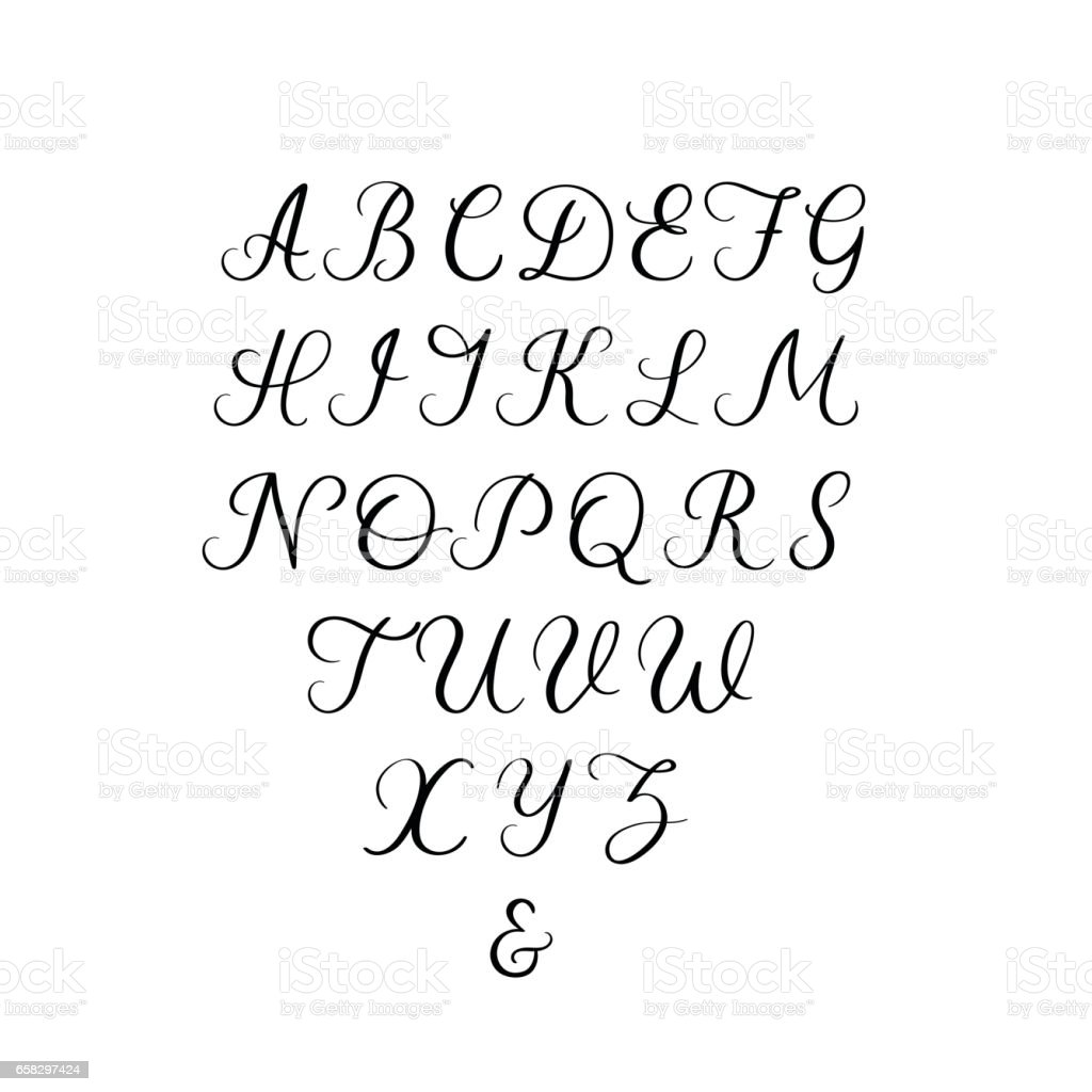 Handwritten Font Calligraphy Alphabet Hand Lettering Vector Illustration Royalty Free