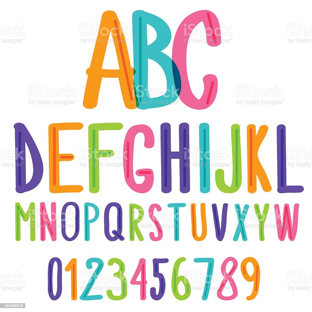 handwritten font colorful kids sketch alphabet and numbers stock