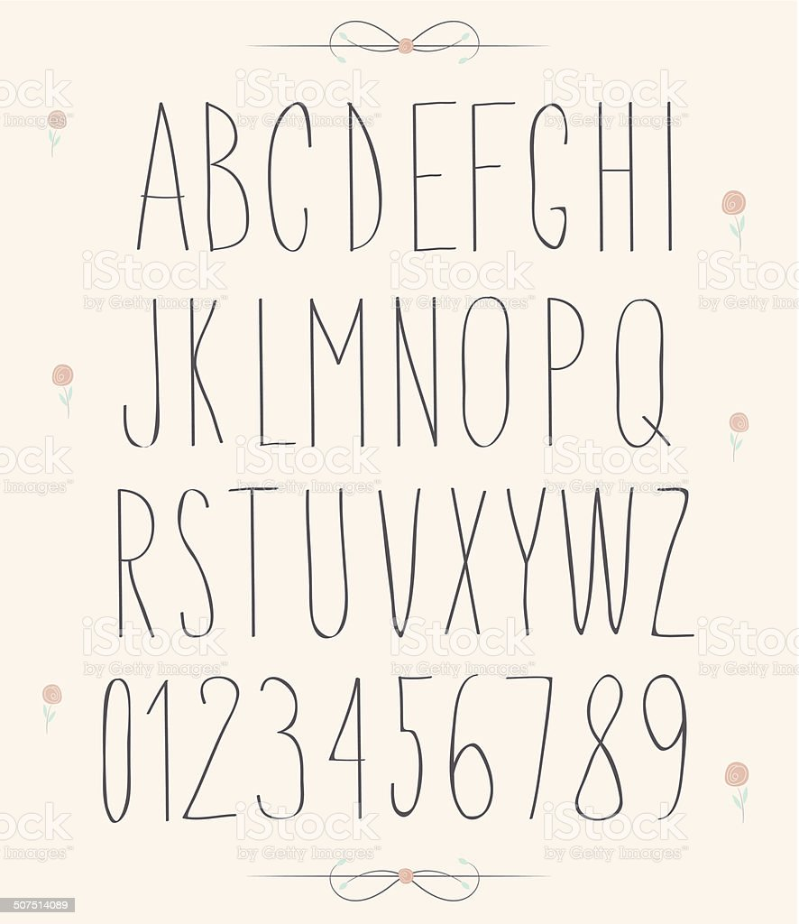 handwritten font, hand drawn sketch alphabet and numbers vector art illustration