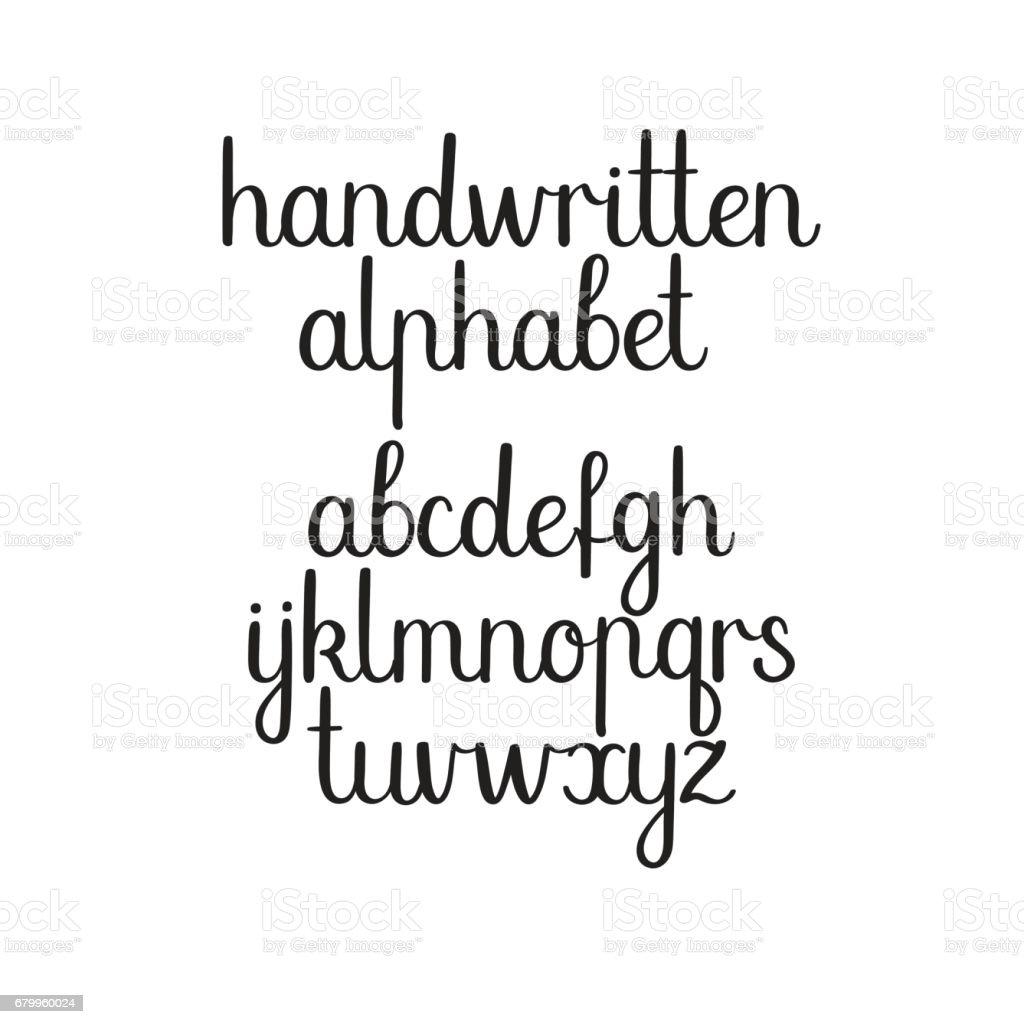 Handwritten Font Vector ABC Modern Calligraphy Alphabet Hand Lettering Royalty Free