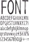 Handwritten font.