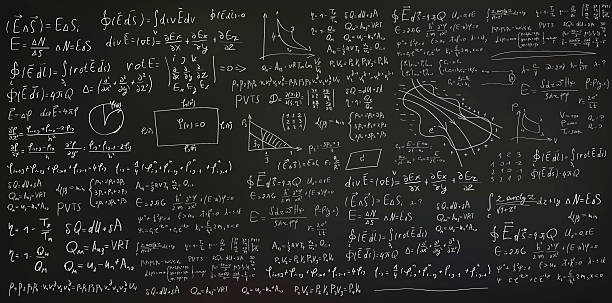 handwritten formulas and equations on black background - algorithm stock illustrations