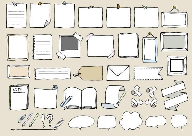 手書きのフレーム セット - いたずら書き/手書きのフレーム点のイラスト素材/クリップアート素材/マンガ素材/アイコン素材