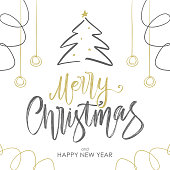 Vector illustration: Handwritten golden brush lettering of Merry Christmas with Christmas tree and decoration on white background.