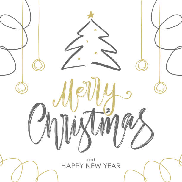Handwritten golden brush lettering of Merry Christmas with Christmas tree and decoration on white background. Vector illustration: Handwritten golden brush lettering of Merry Christmas with Christmas tree and decoration on white background. single word stock illustrations