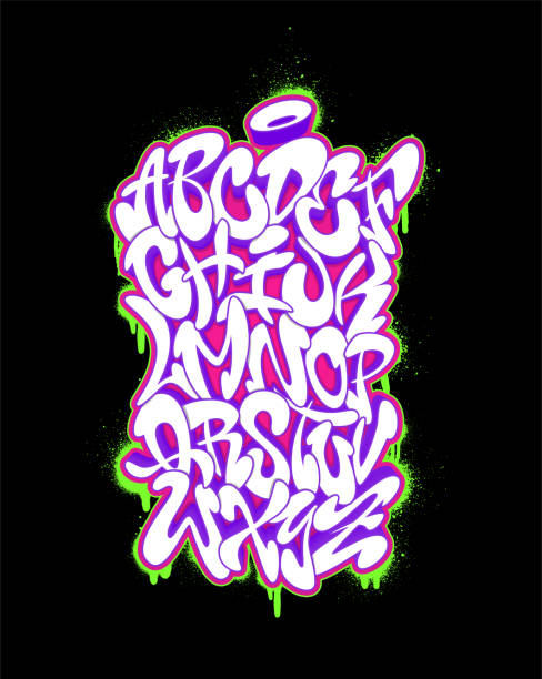 el yazısı grafiti yazı tipi alfabe. vektör çizim set - duvar yazısı stock illustrations