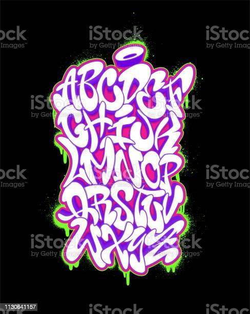 Alphabet De Polices Manuscrites Graffiti Vector Illustration Jeu Vecteurs libres de droits et plus d'images vectorielles de Abstrait