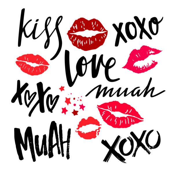 handschriftliche grunge pinsel mit roten lippen schriftzug - kiss stock-grafiken, -clipart, -cartoons und -symbole