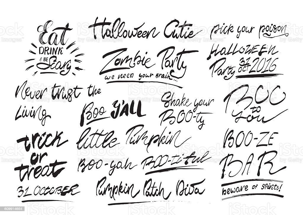 Halloween Phrases.Handwritten Halloween Phrases Stock Illustration Download Image Now Istock