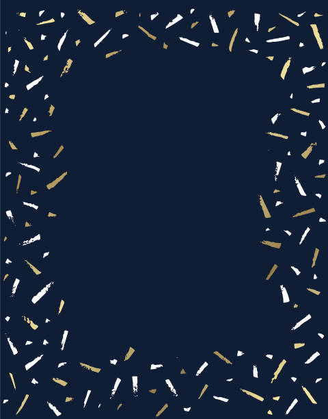 handwritten happy new year with confetti in the background vector art illustration