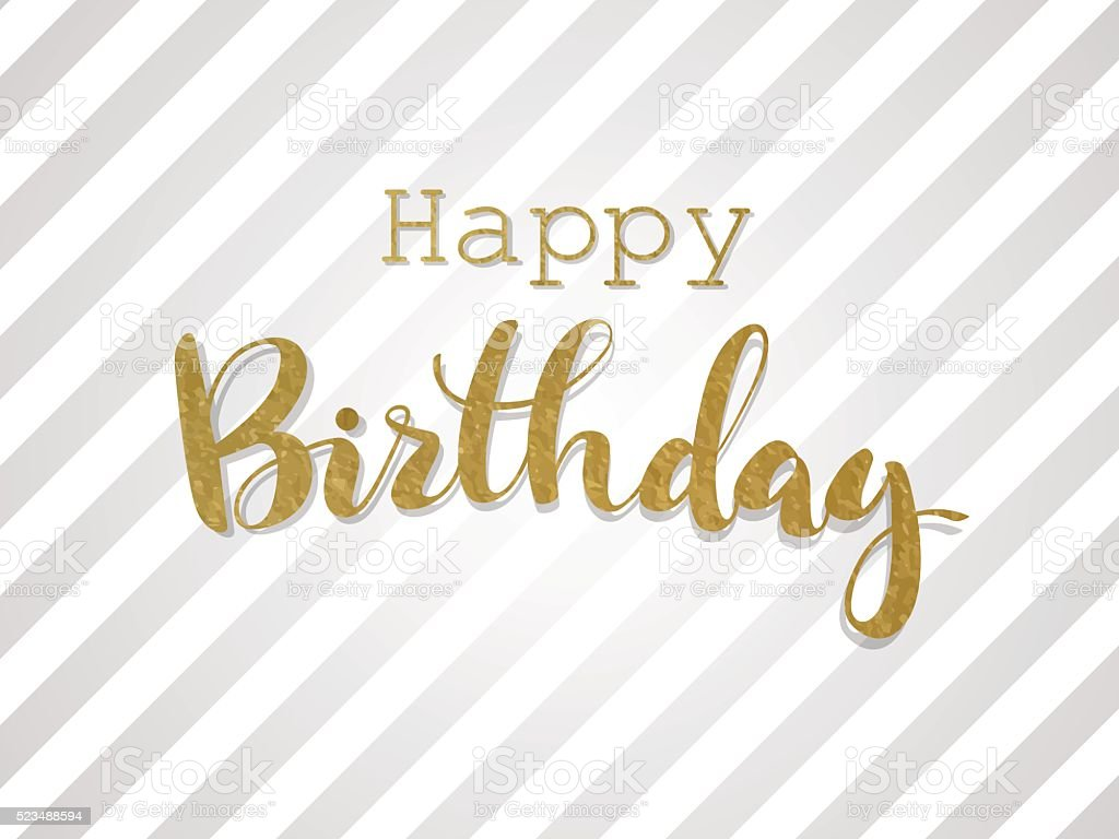 Handwritten inscription Happy Birthday in gold design. vector art illustration