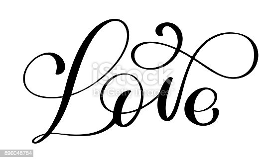 handwritten inscription LOVE for Happy Valentines day card, romantic quote for design greeting cards, tattoo, holiday invitations, photo overlays, t-shirt print, flyer, poster design