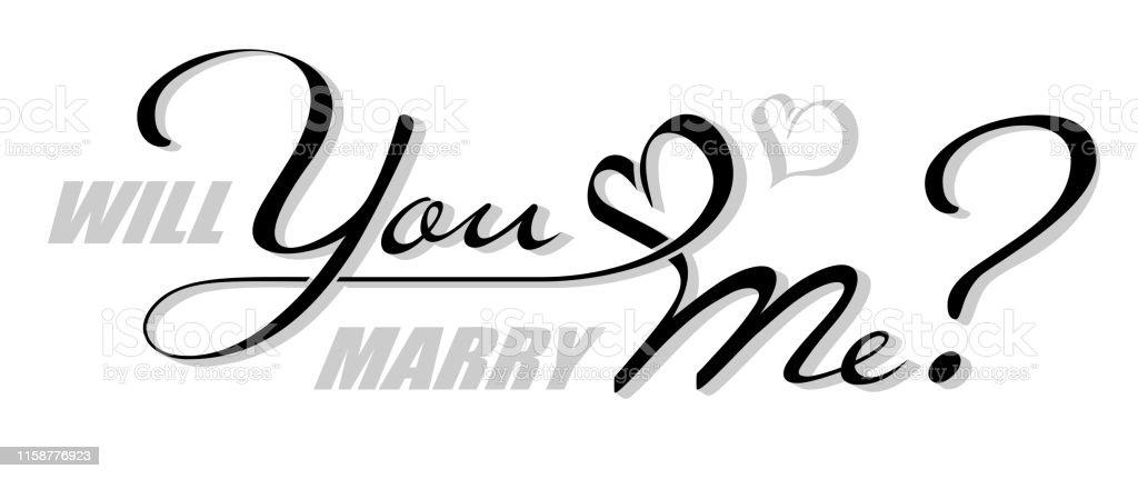Handwritten isolated text Will You Marry Me with heart shape. Hand...