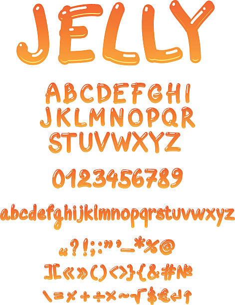 Handwritten jelly font vector Jelly vector font on white background. Easy coloring in illustrator (Recolor artwork) jello stock illustrations