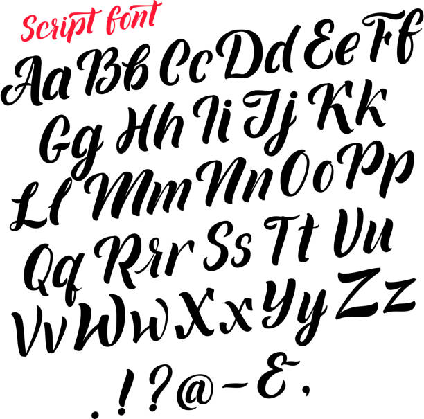 Handwritten latin alphabet. Cursive black letters. Vector fonts isolate on white background Handwritten latin alphabet. Cursive black letters. Vector fonts isolate on white background. Alphabet handwritten type, illustration of typography calligraphy abc handwriting stock illustrations