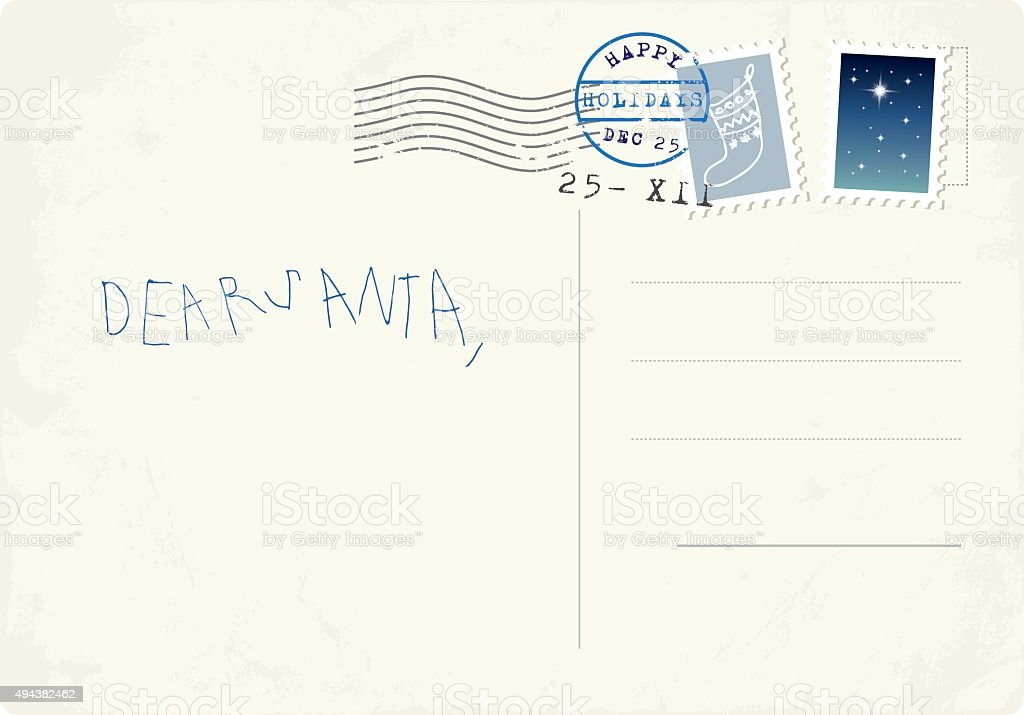 Handwritten letter to Santa from child vector art illustration