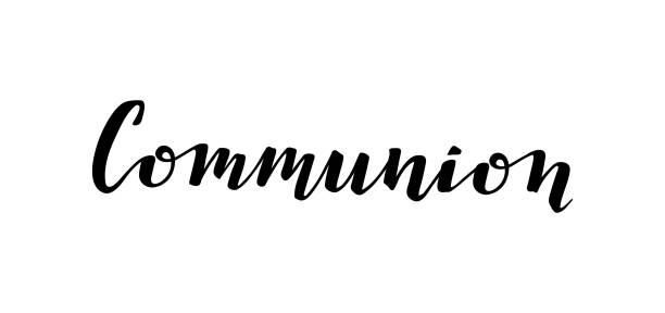 ilustraciones, imágenes clip art, dibujos animados e iconos de stock de letras manuscritas primera comunión santa. inscripción aislada - comunión