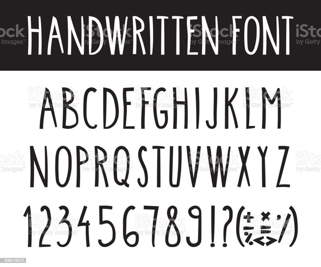 Handwritten Lettering Font Alphabet With Punctuation Marks And Numbers Hand Drawn Vector Illustration
