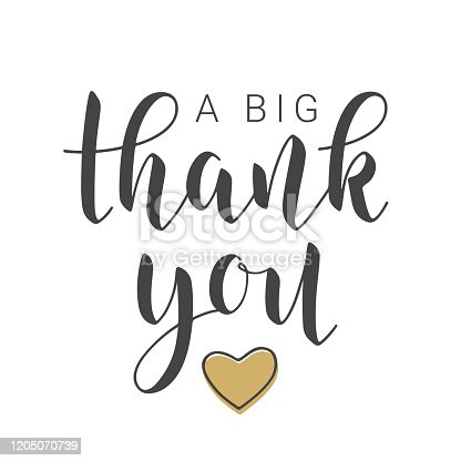 istock Handwritten Lettering of A Big Thank You. Vector Illustration. 1205070739