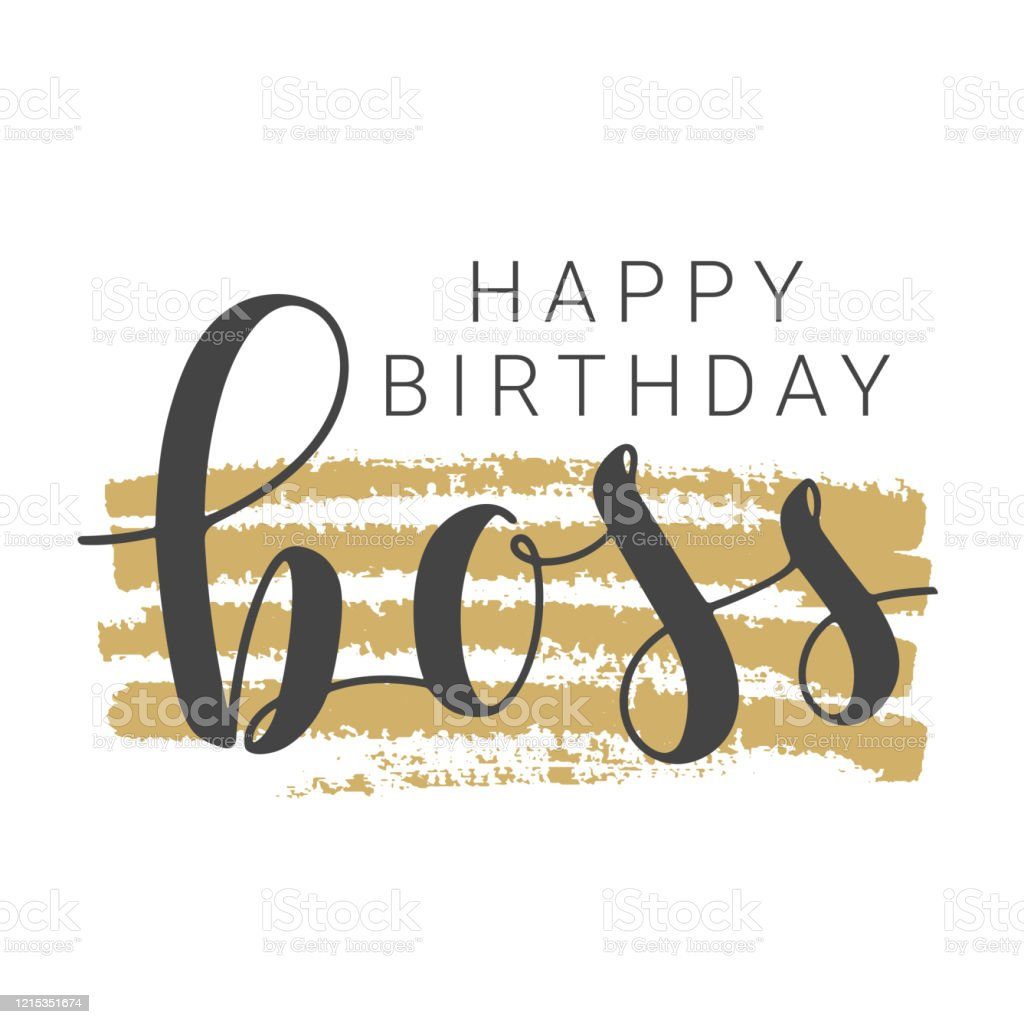 Excellent Handwritten Lettering Of Happy Birthday Boss On White Background Personalised Birthday Cards Cominlily Jamesorg