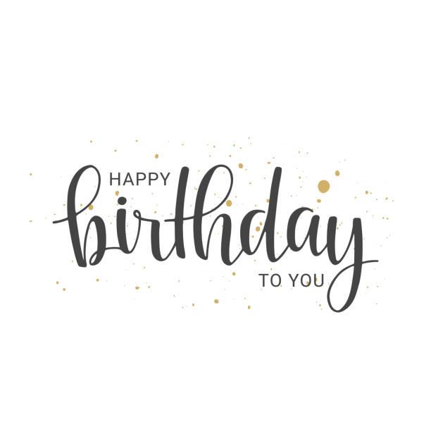 ilustrações, clipart, desenhos animados e ícones de letras manuscritas de feliz aniversário no fundo branco - aniversario