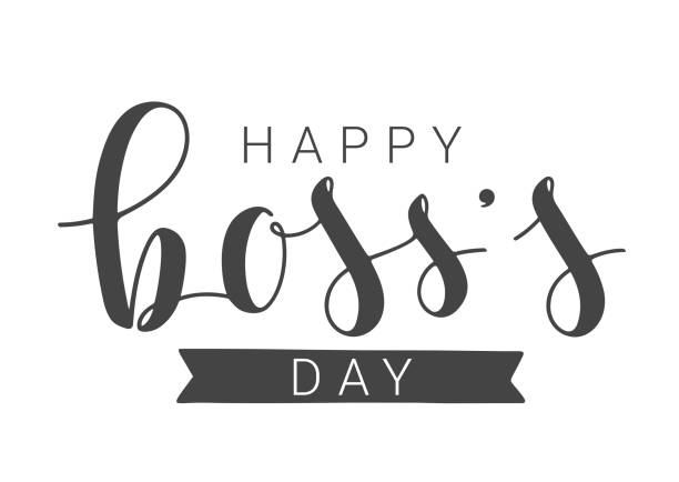 Handwritten Lettering of Happy Boss's Day on White Background. Vector Illustration. Vector Illustration. Handwritten Lettering of Happy Boss's Day. Template for Banner, Card, Label, Postcard, Poster, Sticker, Print or Web Product. Objects Isolated on White Background. happy boss stock illustrations